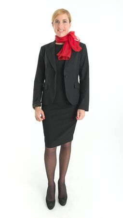 hostess: Smiling hostess with black uniform and red scarf