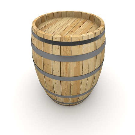 3D rendering of a wine barrel on a white background photo