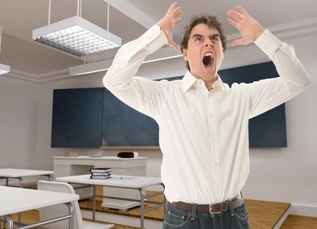 persona enojada: Profesor enojado en un aula