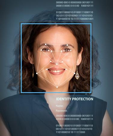 reconnaissance: Visage de femme avec des lignes � partir d'un logiciel de reconnaissance faciale Banque d'images