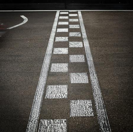 racing track: Start or finish line on kart race Stock Photo