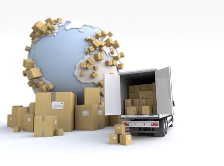 carga: Descarga de camiones en un contexto internacional de transporte Foto de archivo