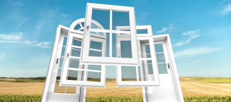 replacements: Selection of doors and windows with a rural landscape on the background