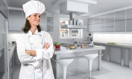 countertop: Female cook in the kitchen