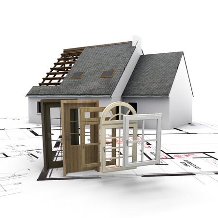 op maat: Een huis in aanbouw, met blauwdrukken en een selectie van ramen en deuren Stockfoto