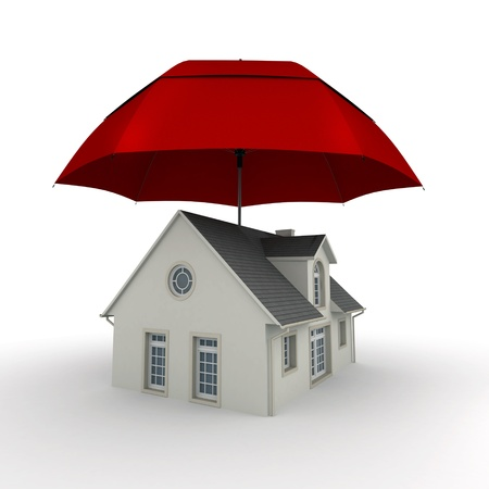 3D rendering of  a house protected by an umbrella photo