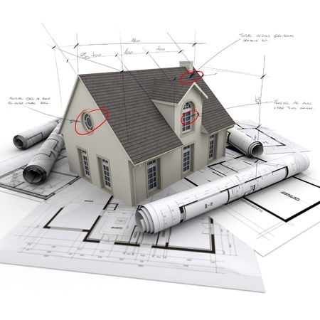 House with notes and measurements and blueprints photo