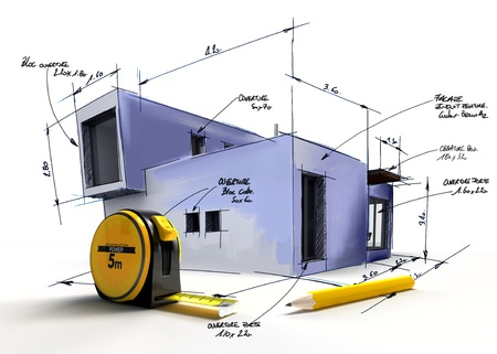Modern building draft with notes and measurements by a pencil and a tape measure photo
