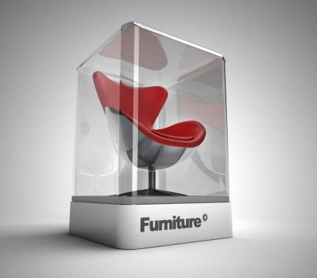red chair: Red swivel design chair in a design showcase Stock Photo