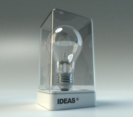 Design showcase with the word ideas exhibiting a light bulb photo