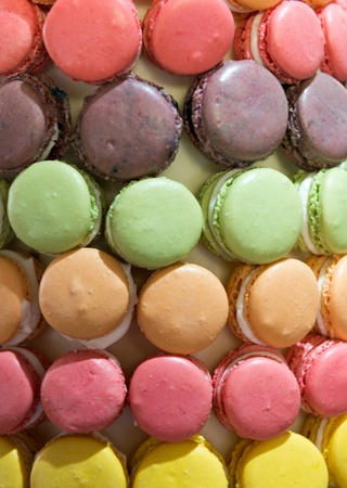 french pastry: Colorful macarons, popular French pastry