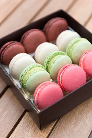 Delicious French macaroons on a gift box photo