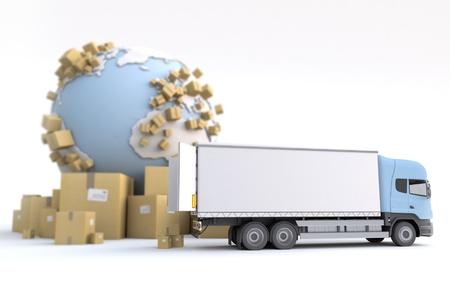 removal van: Unloading truck in an international transportation context Stock Photo