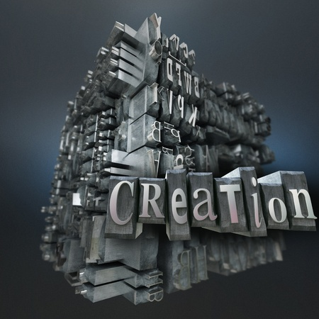 Block of metallic printing letters and the word creation  Stock Photo - 19980078