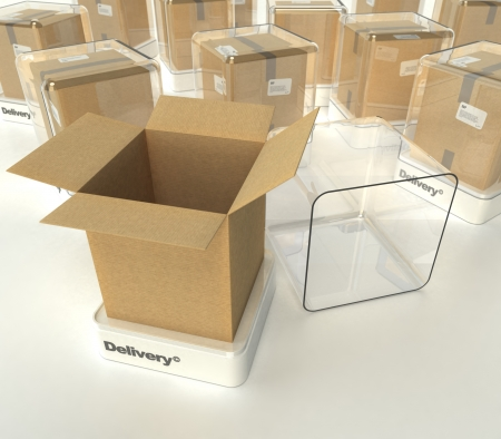 Cardboard boxes in showcases labeled delivery