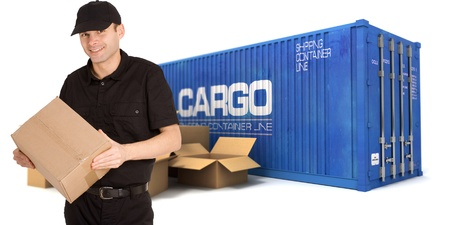conveyance: A  messenger with a cargo container and boxes on the background