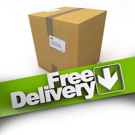 3D rendering of a cardboard box with a free delivery banner photo