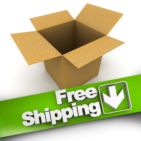 Free shipping banner with an open box photo