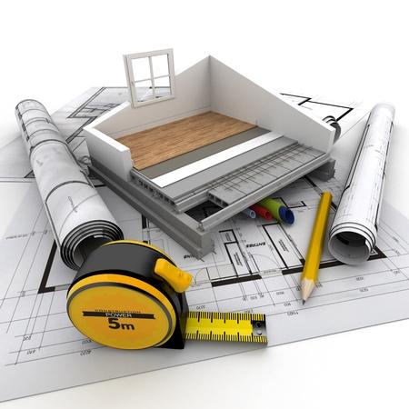 Technische gegevens van woningbouw Stockfoto