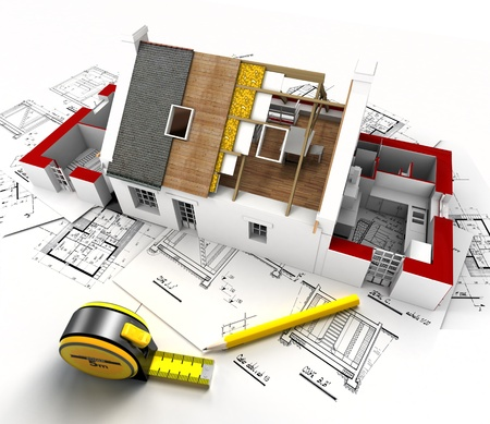 Aerial view of a house under construction, with blueprints and architect work tools Stock Photo - 19979992