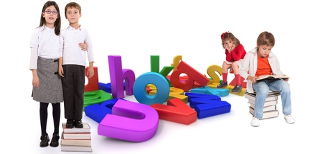 Children with different ages around a multicolored alphabet  photo