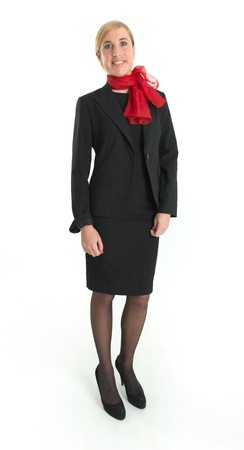 uniform attire: Smiling hostess with black uniform and red scarf