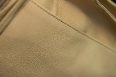 stitching: Close up shot on beige leather