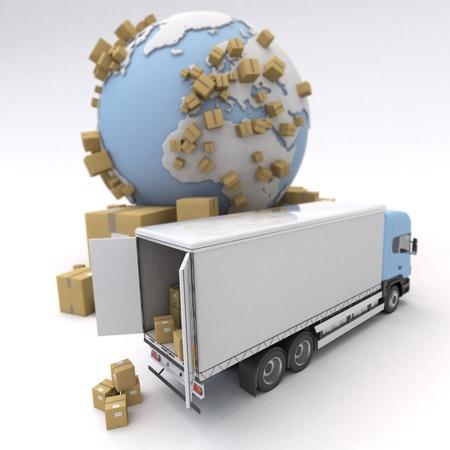 Unloading truck in an international transportation context photo