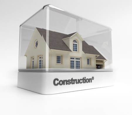 vitrine: Design showcase with the word construction exhibiting a residential house