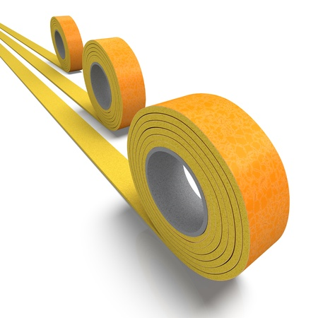 three layer: 3D rendering of a roll of insulation tape