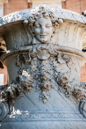 antique vase: Marble ornament in Aranjuez Palace