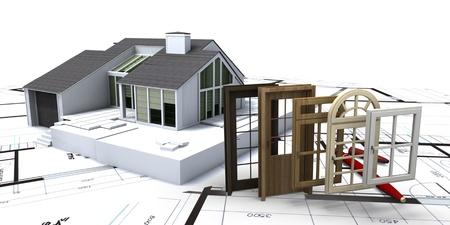 Huis op blauwdrukken met een keuze van ramen en deuren
