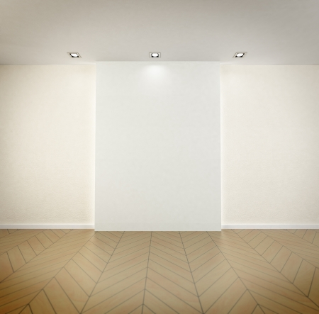 Rendering of an empty room with high quality parquet floor, blank, wall and spot lights on the ceiling photo