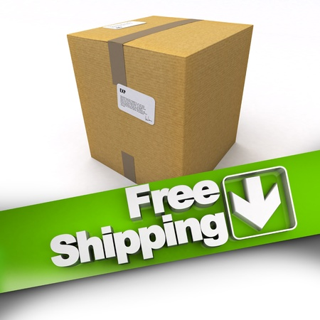3D rendering of a cardboard box with a free shipping banner photo