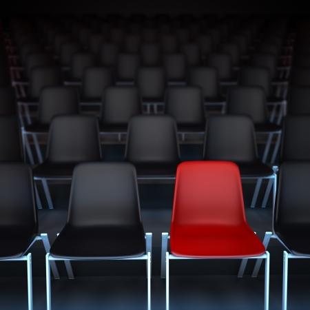 spectators: Representaci�n 3D de filas de sillas negras y una roja