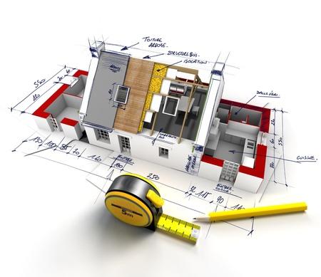 説明用のメモと建設中の家の眺め