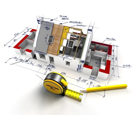 construction project: Aerial view of a house under construction with explanatory notes