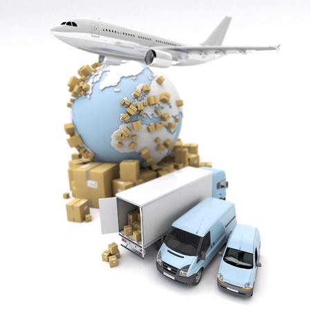 corriere: Rendering 3D della Terra, scatole di cartone, un furgone, un camion e un aereo che vola