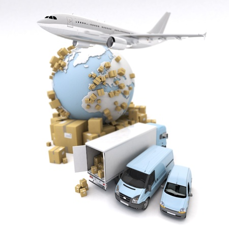 Rendu 3D de la Terre, des boîtes en carton, une fourgonnette, un camion et un avion