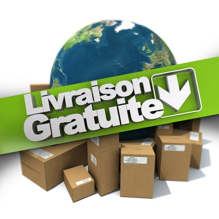 3D rendering of a free delivery concept sign in French: Livraison gratuite,  with the Earth and packages photo