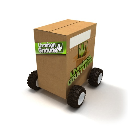 3D rendering of a Brown cardboard box with wheels and a sign advertision Livraison gratuite, free delivery in French photo