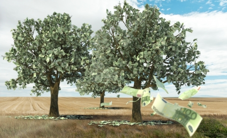 growing money: 3D rendering of the concept money growing on trees Stock Photo