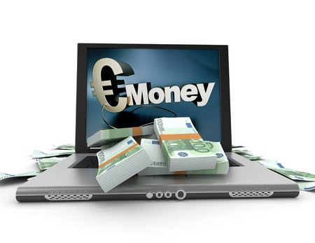 earn money online: A portable computer with a money written on the screen, with the keyboard cover in hundred euro bills Stock Photo
