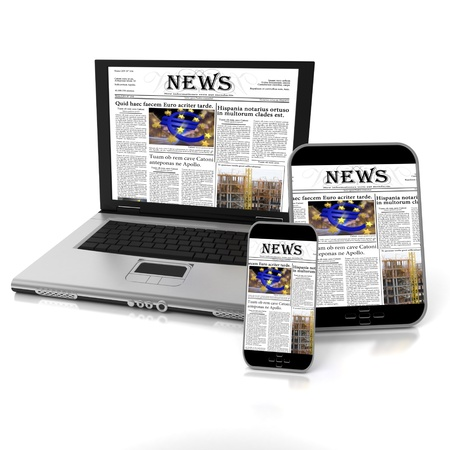 A tablet, a mobile phone and a laptop with a newspaper on the screen Stock Photo - 20252323