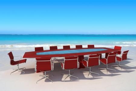 Sala de reunión por el agua en una playa