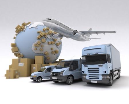 transporte: La Tierra, un mont�n de cajas y una flota de transporte hecha de furgonetas, camiones y un avi�n Foto de archivo