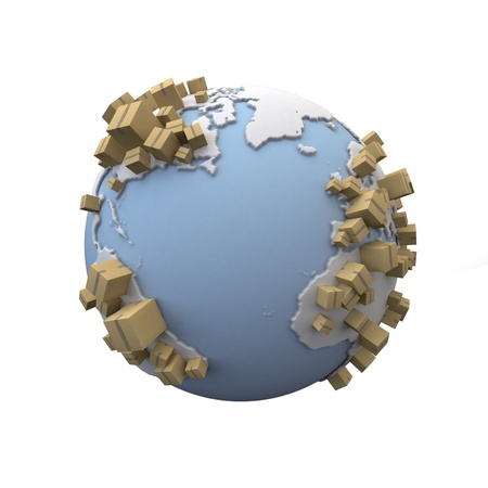 international recycle symbol: 3D rendering of the Earth with lots of cardboard boxes everywhere