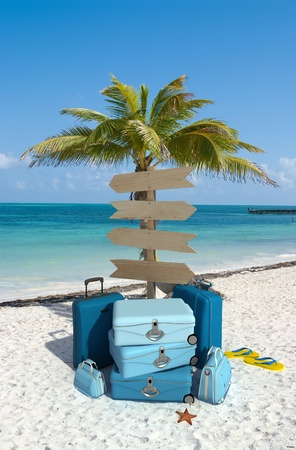 starfish beach: Pile of luggage and directional signs pointing everywhere in a tropical beach