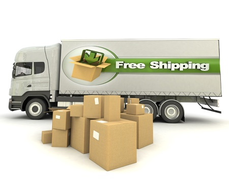 shipping boxes: Trailer truck with a sign advertising free shipping