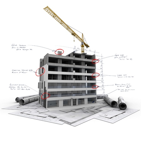 construction project: Building under construction with technical notes on top of blueprints